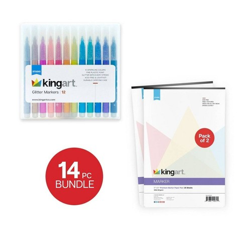 Kingart 14ct Glitter Marker & Pad Set - image 1 of 4