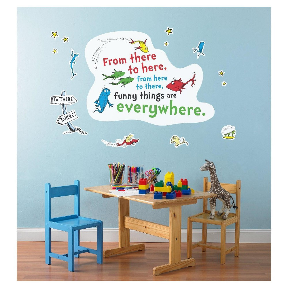 Dr. Seuss One Fish Two Fish Inspirational Quote Giant Wall Decal, Multi-Colored