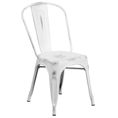 Riverstone Furniture Collection Distressed Metal Chair White