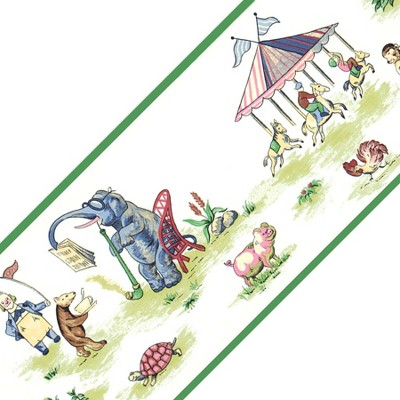 Circus Animals Elephant Wide Wallpaper Accent Border Roll - York Wallcoverings..
