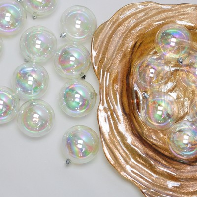 "Northlight 32ct Shatterproof Iridescent Shiny Christmas Ball Ornament Set 3.25"" - Clear"