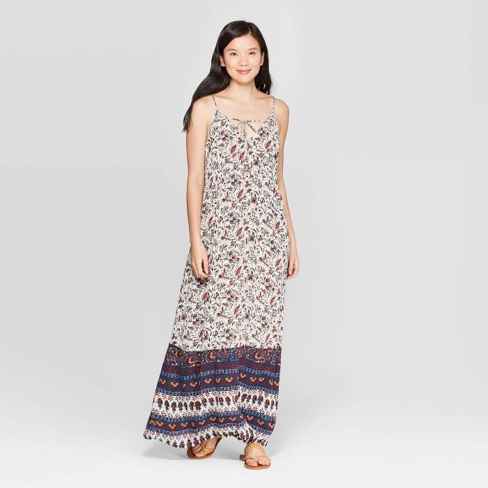 Women's Printed Sleeveless V-Neck Maxi Sundress - Knox Rose™ White - image 1 of 2