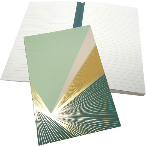 Green Inspired Lined Journal Hardcover Geo Burst - Teal & Mint - image 1 of 1