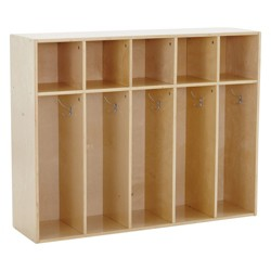 "ECR4Kids 5-Section Classroom Locker | Birch Wood Coat & Backpack Storage for Kids | Toddler 36"" H"