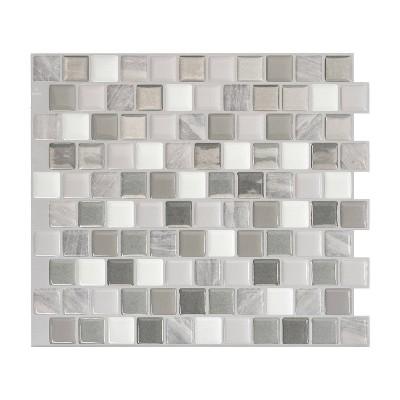 """Smart Tiles 3D Peel and Stick Backsplash 4 Sheets of 10.20"""" x 8.85"""" Kitchen and Bathroom Wallpaper Brixia Cassoria"""
