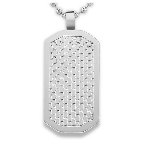 Men's West Coast Jewelry Stainless Steel Honeycomb Textured Dog Tag Pendant - image 1 of 2