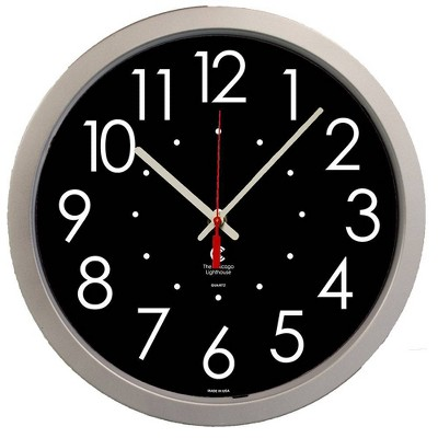"""14.5"""" x 2"""" Large High Contrast Dial Face Quartz Movement Decorative Wall Clock Silver Frame - By Chicago Lighthouse"""