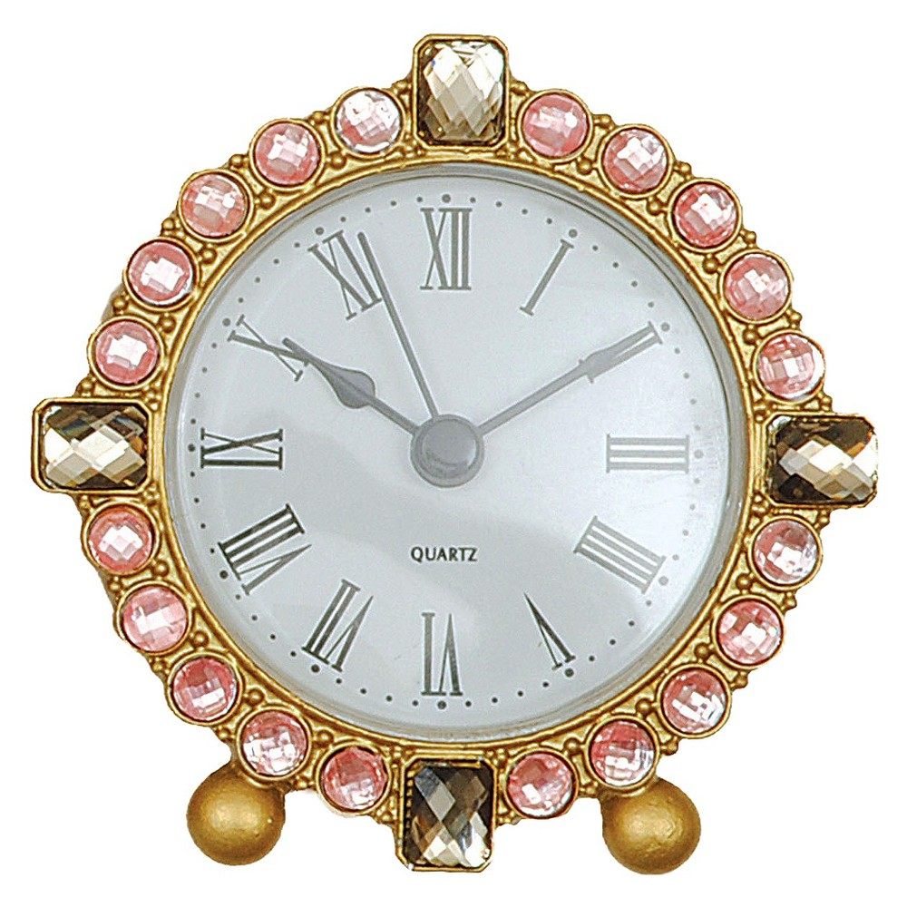 Image of 11 Round Pewter Clock with Crystals Gold - 3R Studios