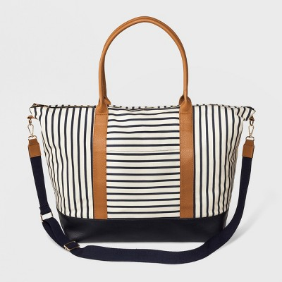 Striped Canvas Weekender Bag - A New Day™ Striped Floral