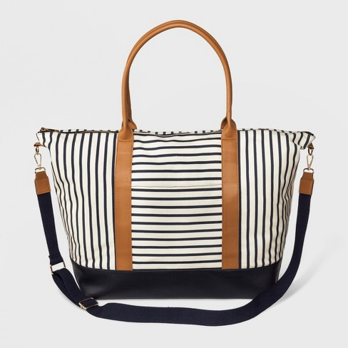 Striped Canvas Weekender Bag A New Day Black White