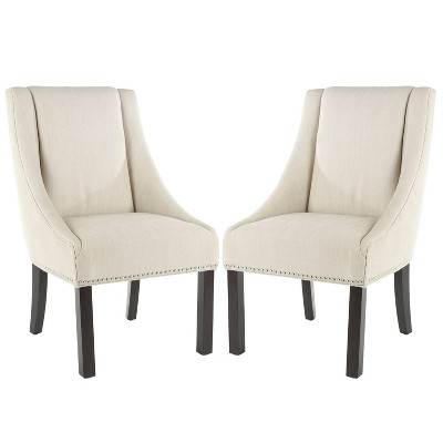 Morris Nailhead Dining Chair Wood/Cream (Set of 2)- Safavieh®