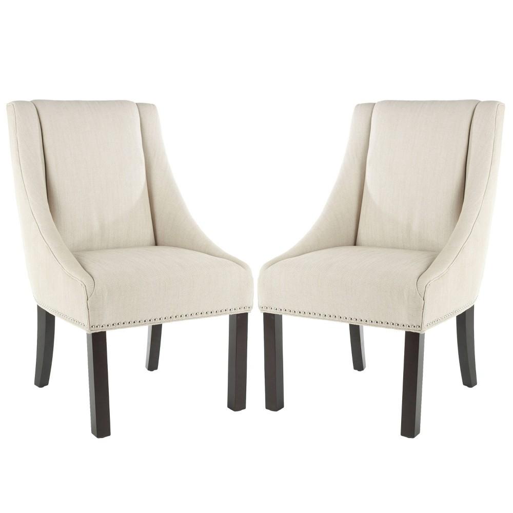 Set of 2 Morris Nailhead Dining Chair Wood/Cream - Safavieh Promos