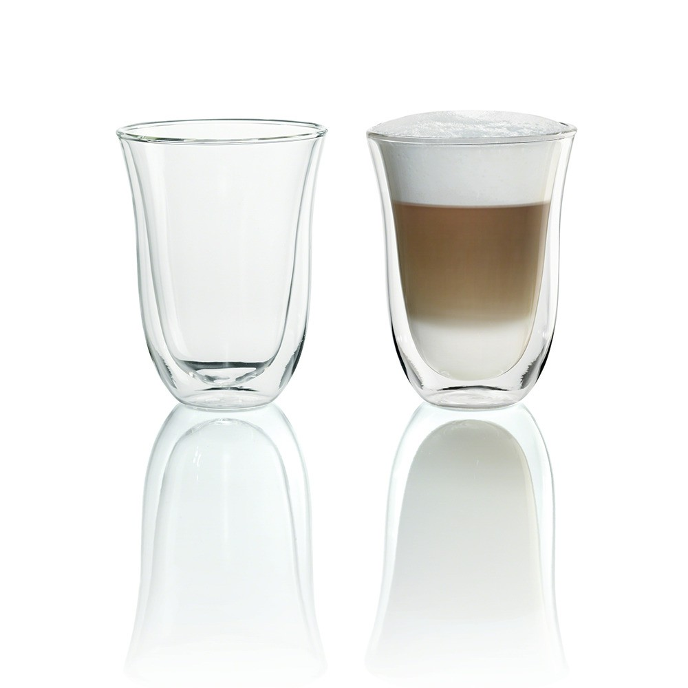 Image of DeLonghi 7.5 fl oz 2 Latte Double Wall Thermal Glasses, Clear
