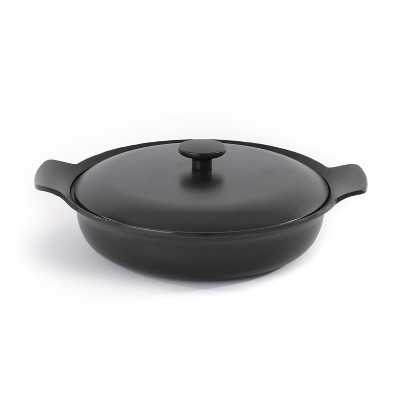 "BergHOFF Ron 11"" Cast Iron Covered Deep Skillet 3.5 Qt, Black"
