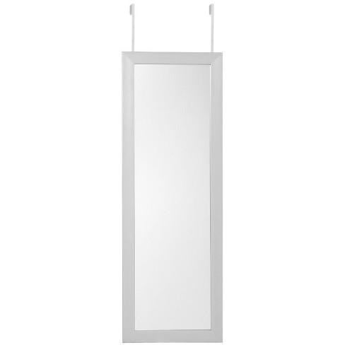 Parker Grey Over-the-Door Jewelry Armoire - Makeup Storage Mirror in Gray - Posh Living - image 1 of 3