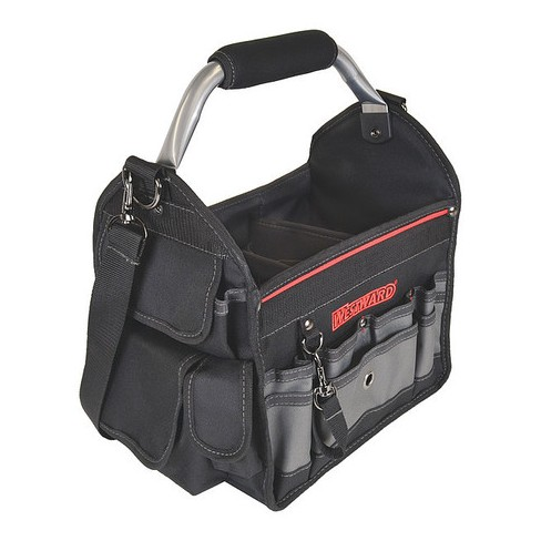 """WESTWARD 32PJ33 Tool Tote, 600d Polyester, 18 Pockets, Black, 12-1/2"""" Height - image 1 of 2"""