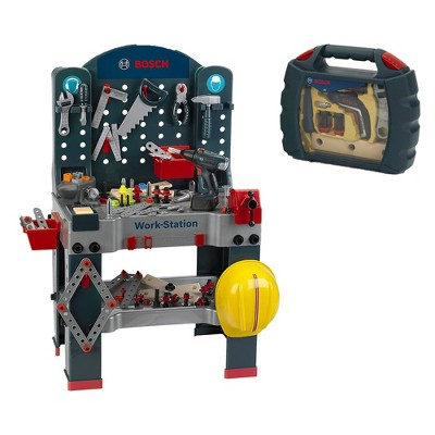 Theo Klein Bosch Jumbo Workbench Workstation Premium Children's Toy Toolset with Ixolino Drill Set for Ages 3 Years Old and Up