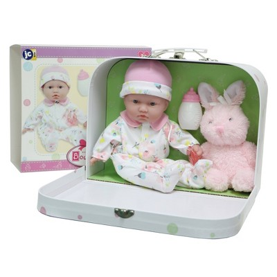 "JC Toys La Baby 11"" Soft Body Play Doll Body Travel Case Gift Set in Pink"