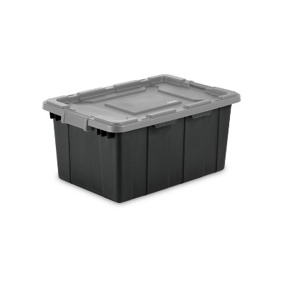 Sterilite 15gal Industrial Tote Black With Gray Lid and Latches