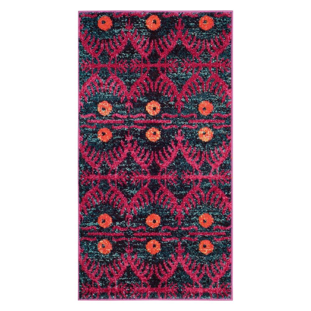 22X4 Geometric Design Accent Rug Pink - Safavieh Cheap