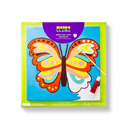 "11""x11"" Paint-Your-Own Canvas Kit Butterfly - Mondo Llama™"