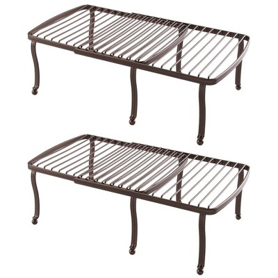 mDesign Metal Expandable Kitchen Pantry Storage Shelf