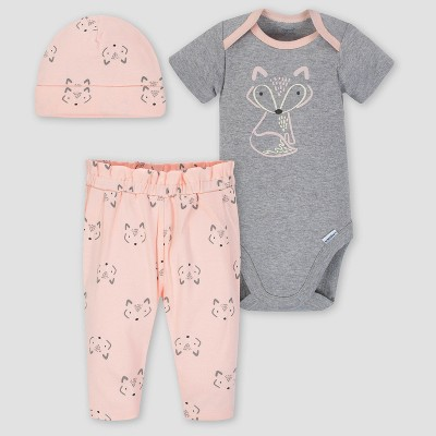Gerber Baby Girls' 3pc Foxy Onesies Bodysuit Pants and Hat Set - Heather Gray/Pink 3-6M