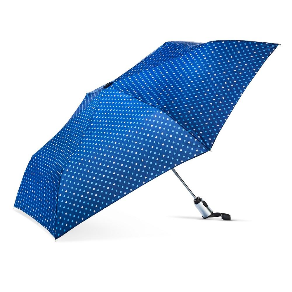 Image of ShedRain Auto Open/Close Compact Umbrella - Blue Polka Dot