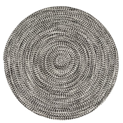 3'X3' Solid Braided Round Area Rug Black - Colonial Mills