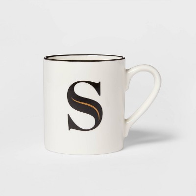 16oz Stoneware Monogram S Mug White - Threshold™