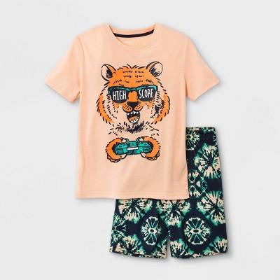 Boys' 2pc Tiger Print Pajama Set - Cat & Jack™ Orange