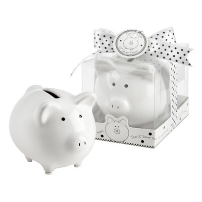 12ct  Li'l Saver Favor  Ceramic Mini-Piggy Bank in Gift Box with Polka-Dot Bow