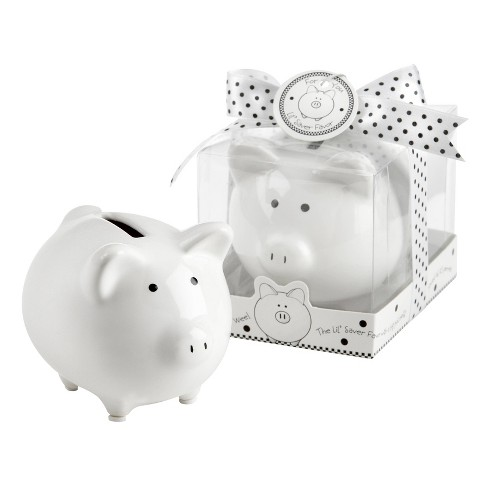 "12ct ""Li'l Saver Favor"" Ceramic Mini-Piggy Bank in Gift Box with Polka-Dot Bow - image 1 of 2"