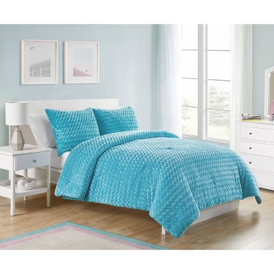 Blue Victoria Classics Rose Faux Fur Comforter Set Twin 2pc - VCNY
