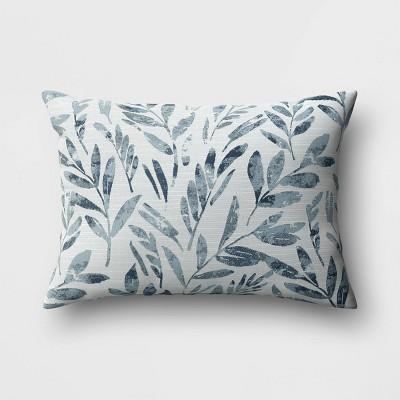 """14""""x20"""" Botanical Lumbar Throw Pillow Blue - Threshold™"""