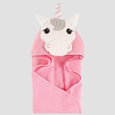 Hudson Baby Animal Face Hooded Towel Unicorn - Pink