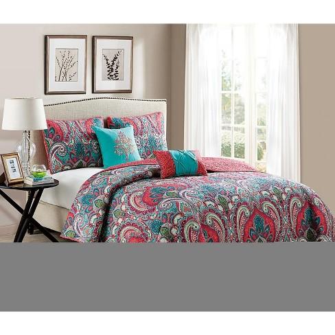 Vcny Home Casa Re Al Coral Aqua Reversible Quilt Set Multicolored 4 Piece Twin Twin Xl Target