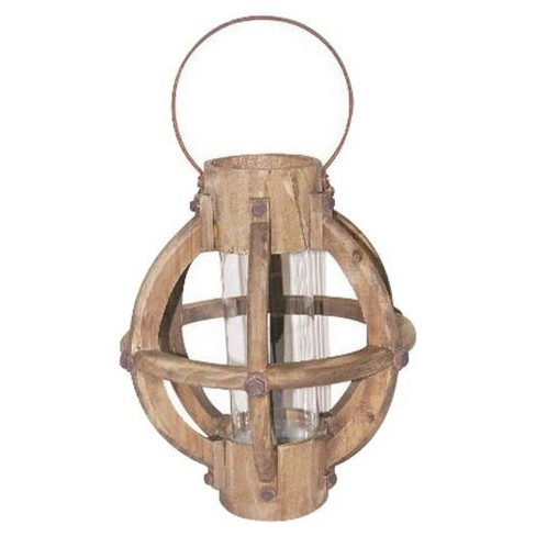 Wood Lantern with Glass Insert - 3R Studios® - image 1 of 1