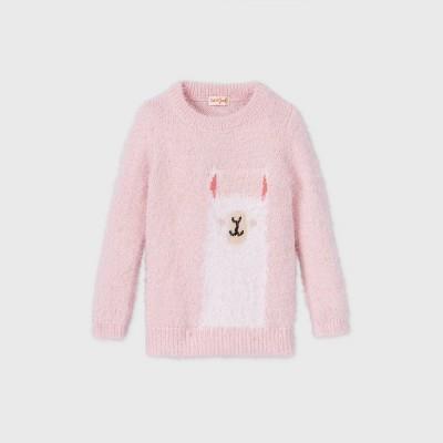 Toddler Girls' Llama Pullover Sweater - Cat & Jack™ Blush Pink 12M