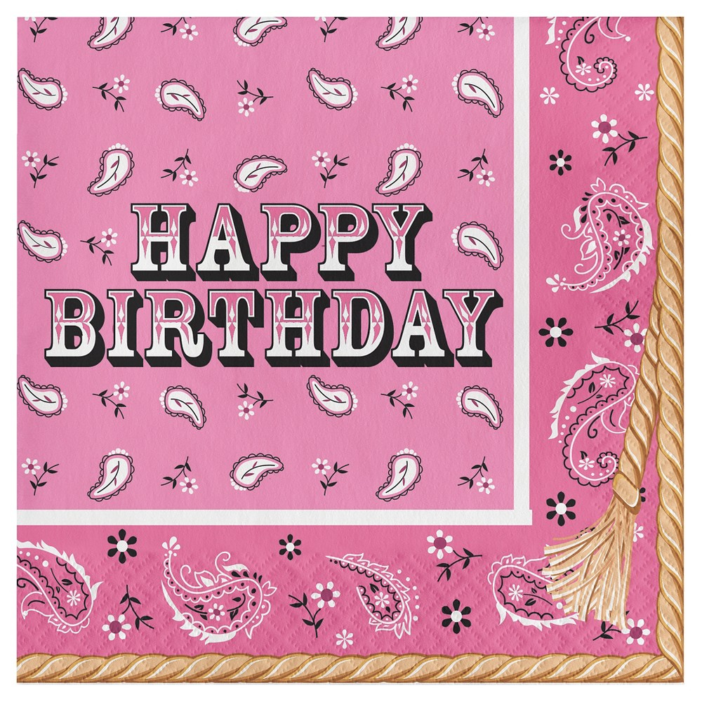 16ct Pink Bandana Cowgirl Birthday Napkins