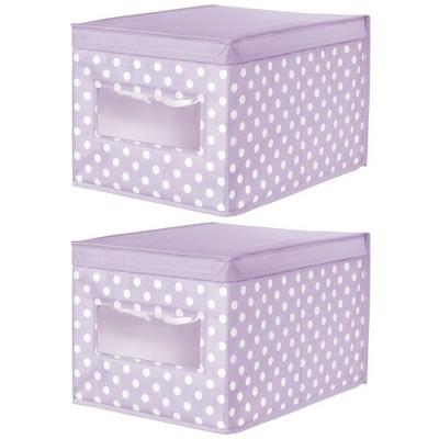 mDesign Child/Kids Fabric Closet Storage Box, Large, Polka Dot, 2 Pack