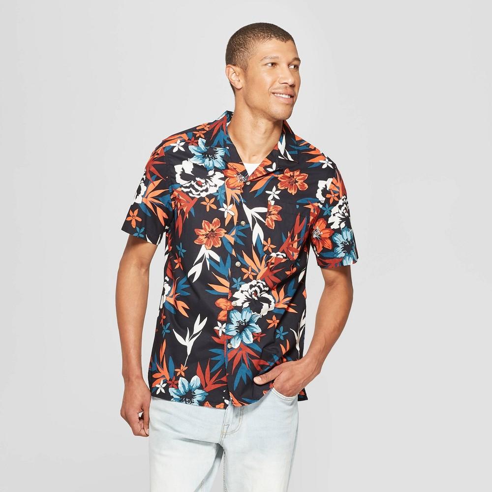 Men's Floral Print Short Sleeve Button-Down Shirt - Goodfellow & Co Xavier Navy XL
