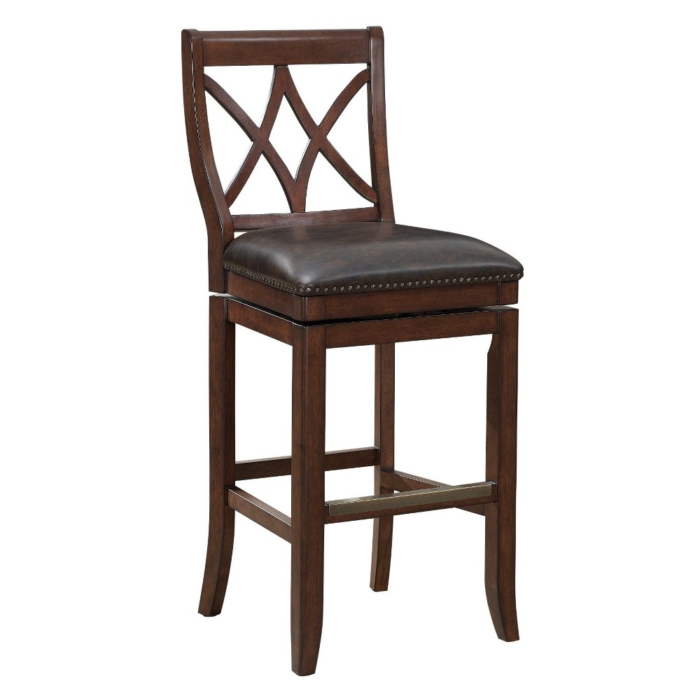 Hadley Bonded Leather Swivel Counter Stool - 26 - Brown - American Heritage Billiards