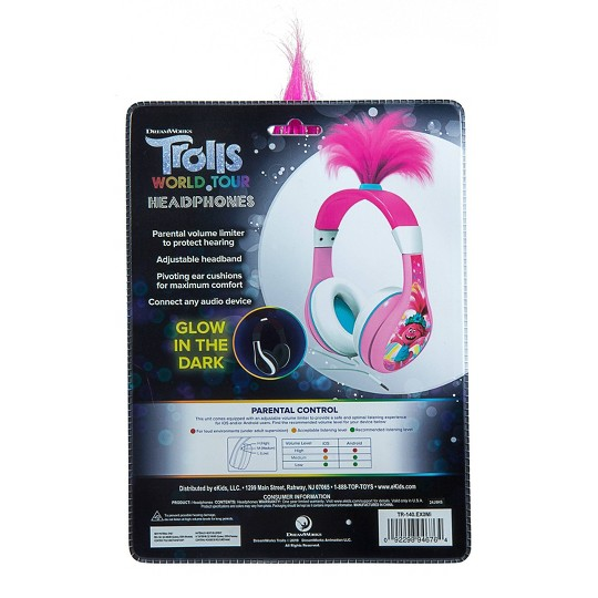 Trolls World Tour Youth Poppy Kids Wired Headphones image number null