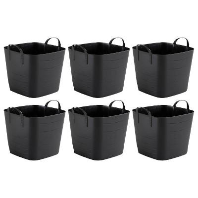 Life Story Flexible Tub Basket 25 Liter/6.6 Gallon Plastic Multifunction Storage Tote Bin with Handles, Black (6 Pack)