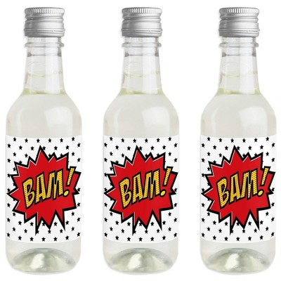 Big Dot of Happiness Bam Superhero - Mini Wine & Champagne Bottle Label Stickers - Baby Shower Birthday Party Favor Gift for Women & Men - Set of 16