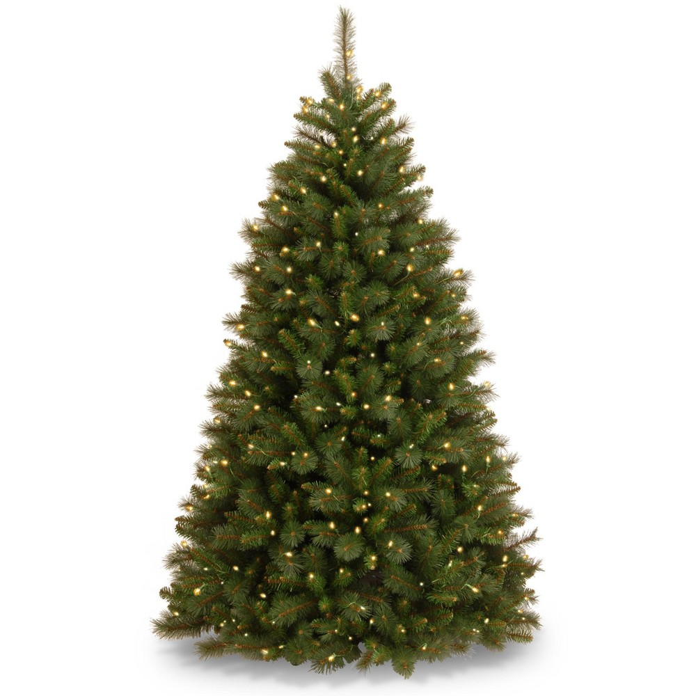 7.5ft National Christmas Tree Company Full Pre-Lit Rocky Ridge Medium Pine Hinged Artificial Christmas Tree with 750 Clear Lights