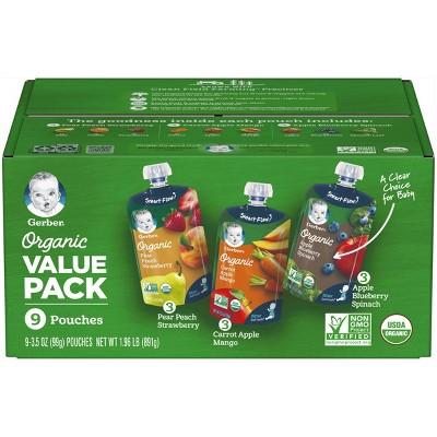 Gerber Organic 2nd Foods Fruit & Veggie Baby Food Value Pack - 9ct/3.5oz Each