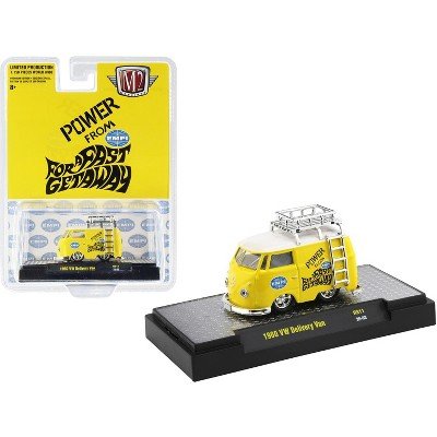 """1960 Volkswagen Delivery Van w/Ladder & Roof Rack """"EMPI"""" Bright Yellow Ltd Ed to 7150 pcs 1/64 Diecast Model Car by M2 Machines"""