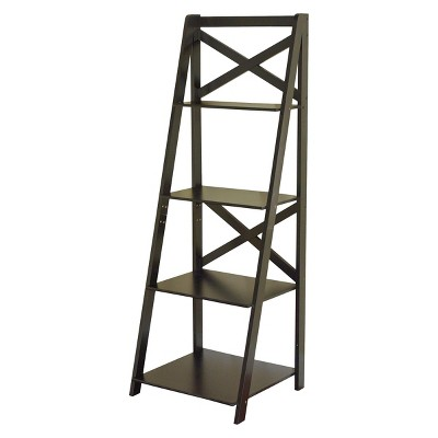 56  Four Tier Crossback Shelf - Black
